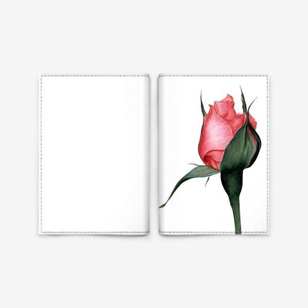 Обложка для паспорта «Нежный бутон розы ботаническая иллюстрация акварель»