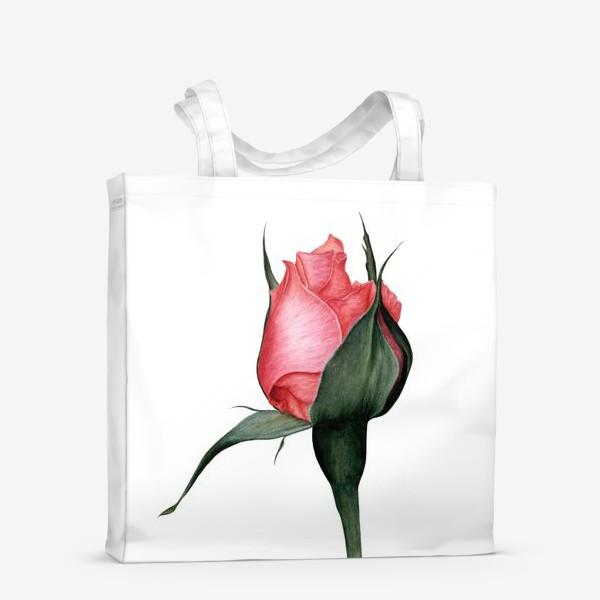 Сумка-шоппер «Нежный бутон розы ботаническая иллюстрация акварель»
