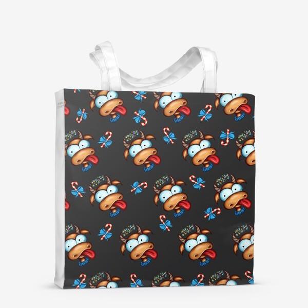 Сумка-шоппер «Веселый Бык с конфетами 2021 »