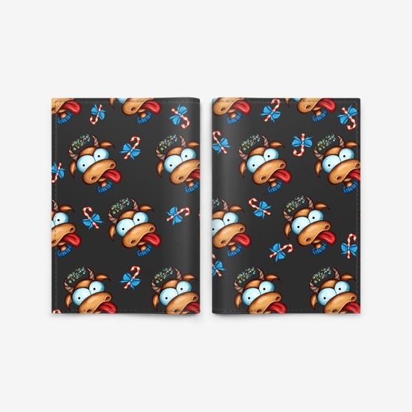 Обложка для паспорта «Веселый Бык с конфетами 2021 »