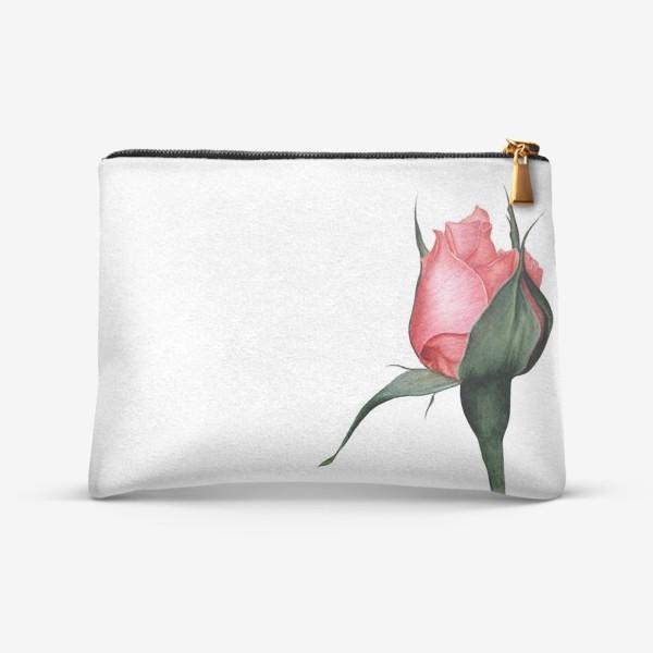 Косметичка «Нежный бутон розы ботаническая иллюстрация акварель»