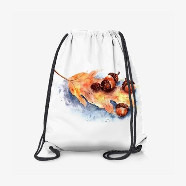 Рюкзак «Осенний принт желтый лист и желуди»