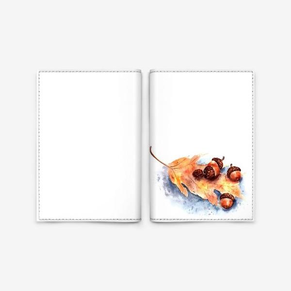 Обложка для паспорта «Осенний принт желтый лист и желуди»