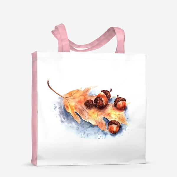 Сумка-шоппер «Осенний принт желтый лист и желуди»