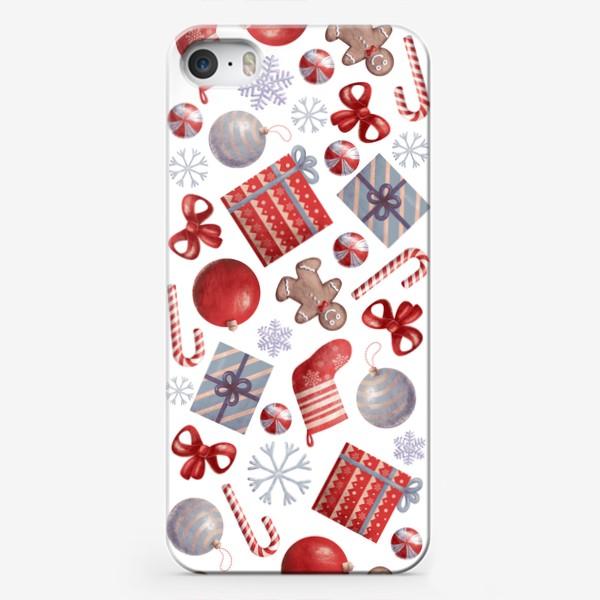 Чехол iPhone «новогодний принт на белом фоне»