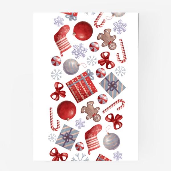 Постер «новогодний принт на белом фоне»