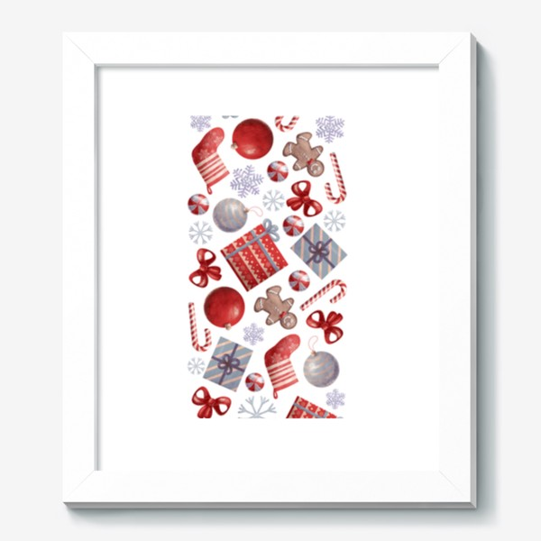 Картина «новогодний принт на белом фоне»
