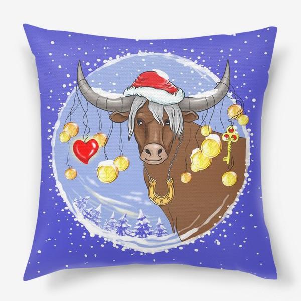 Подушка «Новогодний бык с подарками»