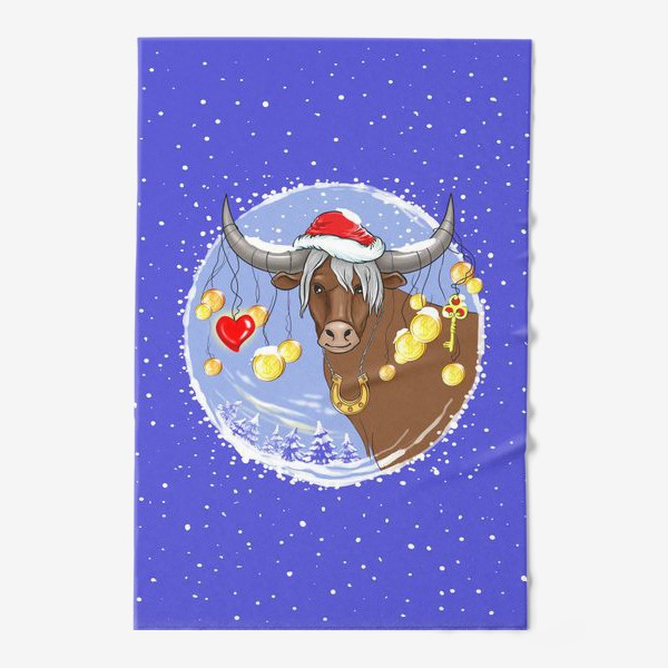 Полотенце «Новогодний бык с подарками»