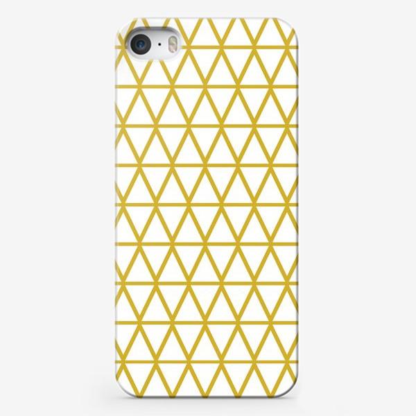 Чехол iPhone «Графика на белом фоне в желтых тонах с треугольниками»