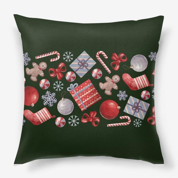 Подушка «новогодний принт на зеленом фоне»