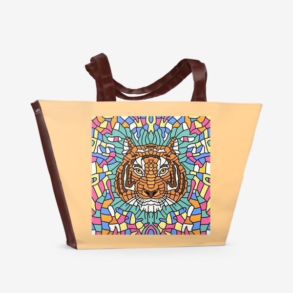 Пляжная сумка «Тигр.Мозаика.»