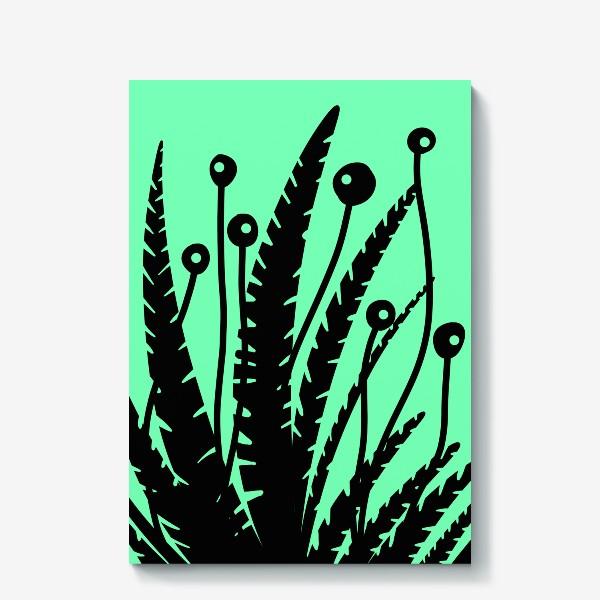 Холст «Тропические растения, черные кусты на зеленом»
