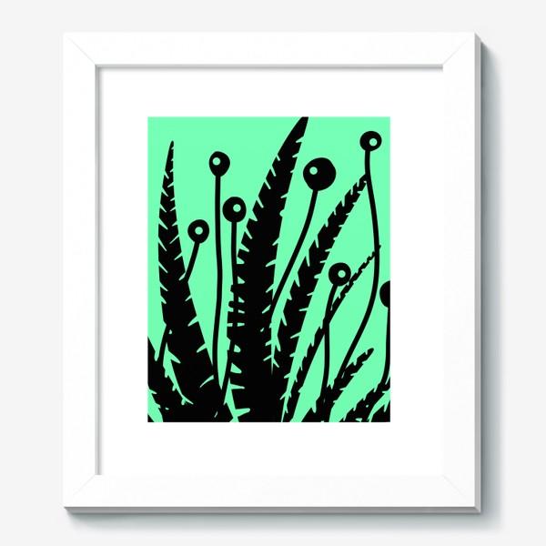 Картина «Тропические растения, черные кусты на зеленом»