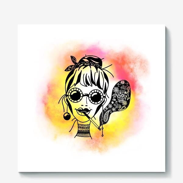 Холст «Девушка в очках с сигаретой»