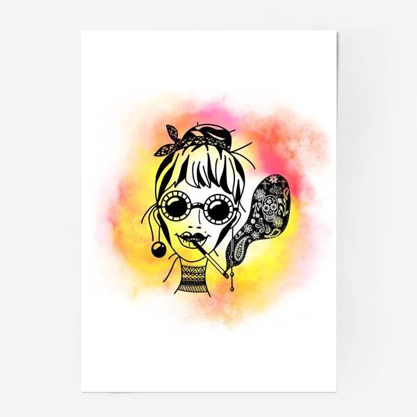 Постер «Девушка в очках с сигаретой»