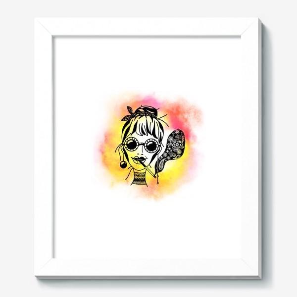 Картина «Девушка в очках с сигаретой»