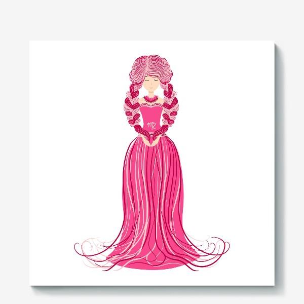 Холст «Знак зодиака Дева, женщина с косами»