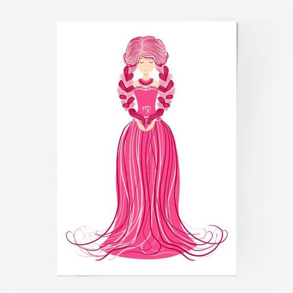 Постер «Знак зодиака Дева, женщина с косами»