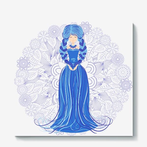 Холст «Знак зодиака Дева и цветочная мандала»