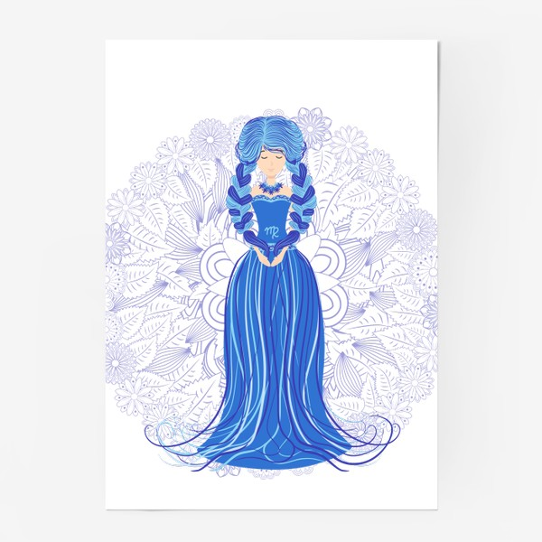 Постер «Знак зодиака Дева и цветочная мандала»