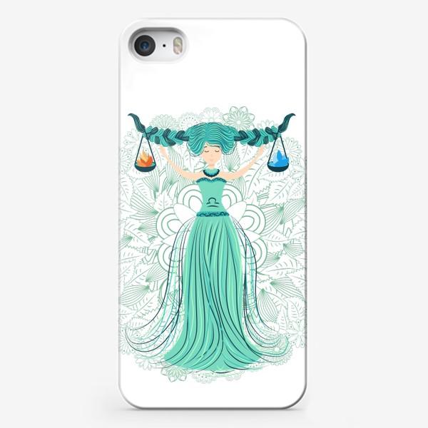 Чехол iPhone «Знак зодиака Весы и цветочная мандала»