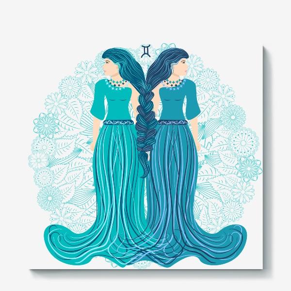 Холст «Знак зодиака Близнецы и цветочная мандала»