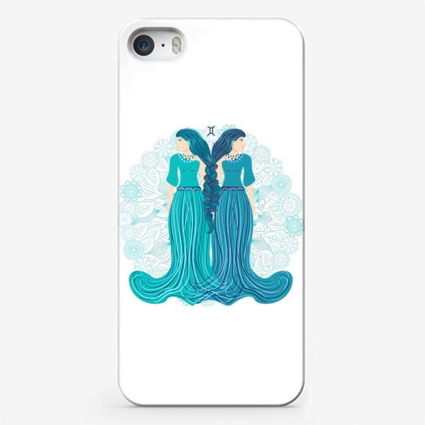 Чехол iPhone «Знак зодиака Близнецы и цветочная мандала»
