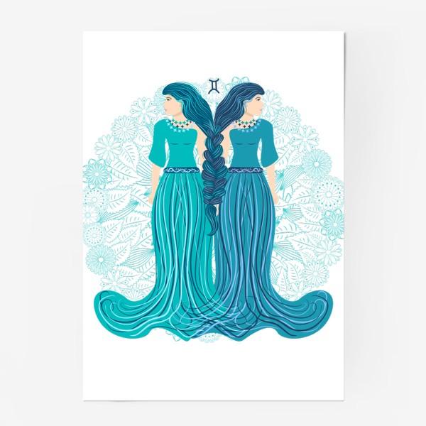 Постер «Знак зодиака Близнецы и цветочная мандала»