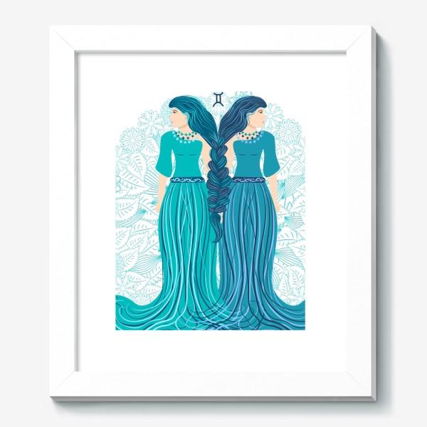 Картина «Знак зодиака Близнецы и цветочная мандала»