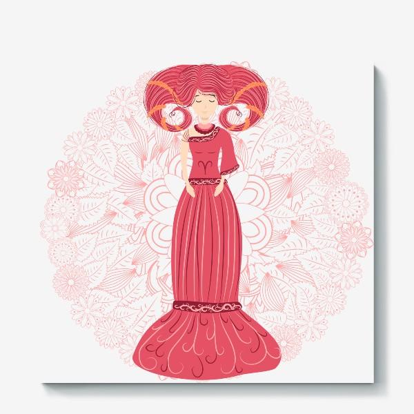 Холст «Знак зодиака Овен и цветочная мандала»