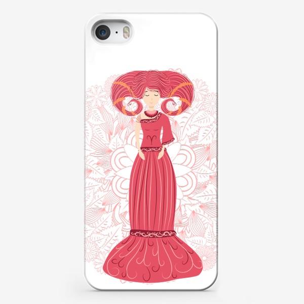 Чехол iPhone «Знак зодиака Овен и цветочная мандала»
