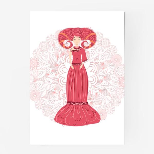 Постер «Знак зодиака Овен и цветочная мандала»