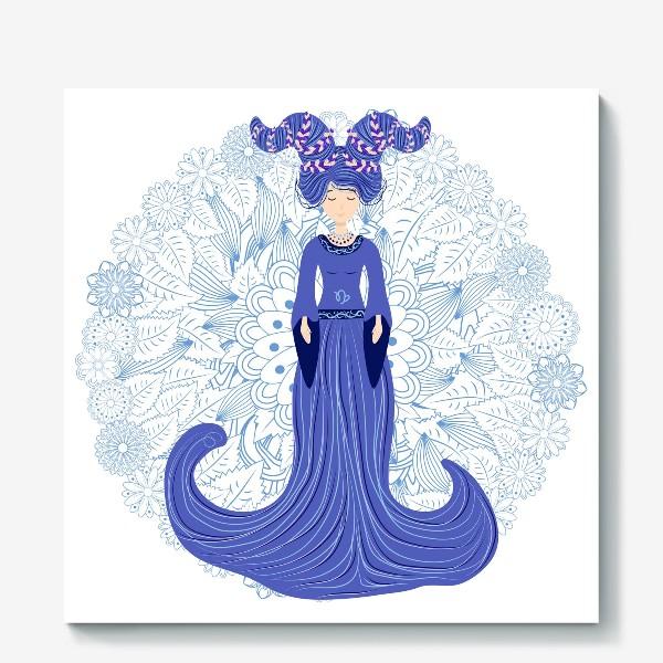 Холст «Знак зодиака Козерог и цветочная мандала»