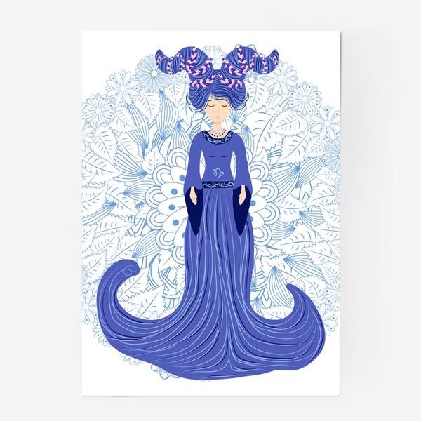 Постер «Знак зодиака Козерог и цветочная мандала»