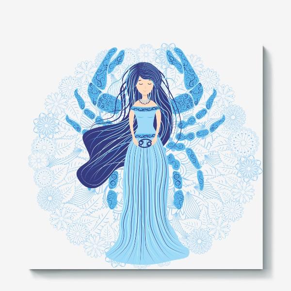 Холст «Знак зодиака Рак и цветочная мандала»