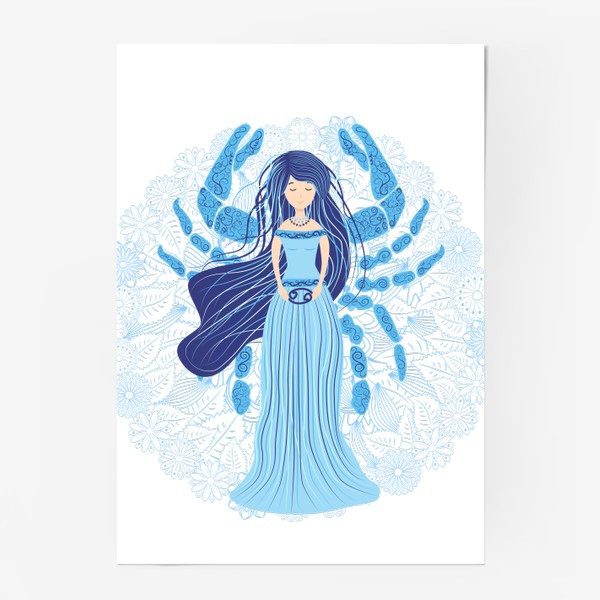 Постер «Знак зодиака Рак и цветочная мандала»