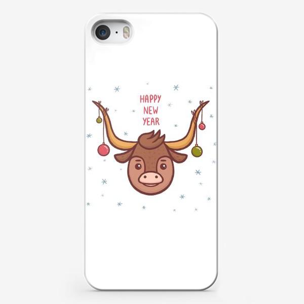 Чехол iPhone «Милый бык. Новый год 2021»