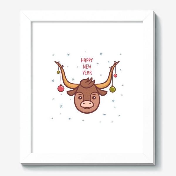 Картина «Милый бык. Новый год 2021»