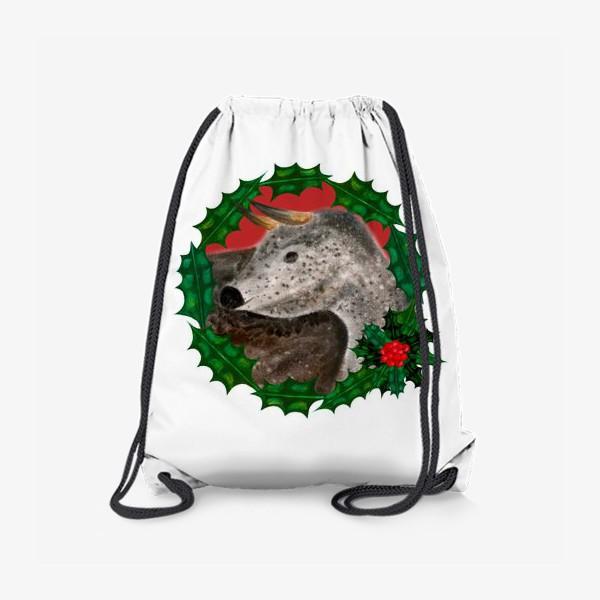 Рюкзак «Пятнистый новогодний бык в венке из остролиста»
