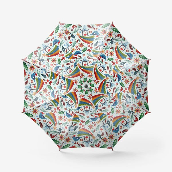 Зонт «Новогодние украшения, звезды, птицы, козьи маски, листья, еловые ветки, шишки, носки. Ручная роспись гуашью.»