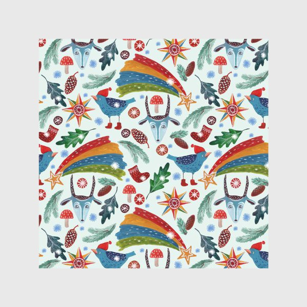 Скатерть «Новогодние украшения, звезды, птицы, козьи маски, листья, еловые ветки, шишки, носки. Ручная роспись гуашью.»