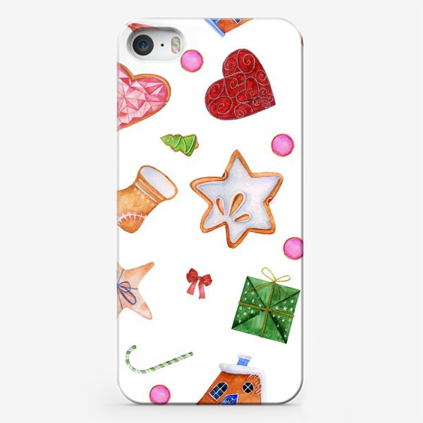 Чехол iPhone «New Year seamless pattern. Set of gingerbread figures.»