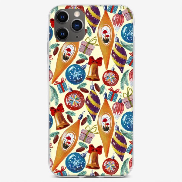 Чехол iPhone «Елочные игрушки, подарки, еловые ветки, шишки»
