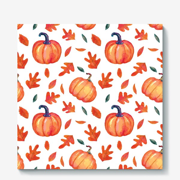 Холст «Яркие оранжевые тыквы и листья дуба на белом фоне»