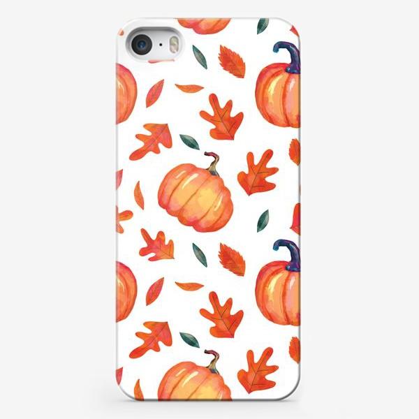 Чехол iPhone «Яркие оранжевые тыквы и листья дуба на белом фоне»