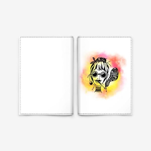 Обложка для паспорта «Девушка в очках с сигаретой»