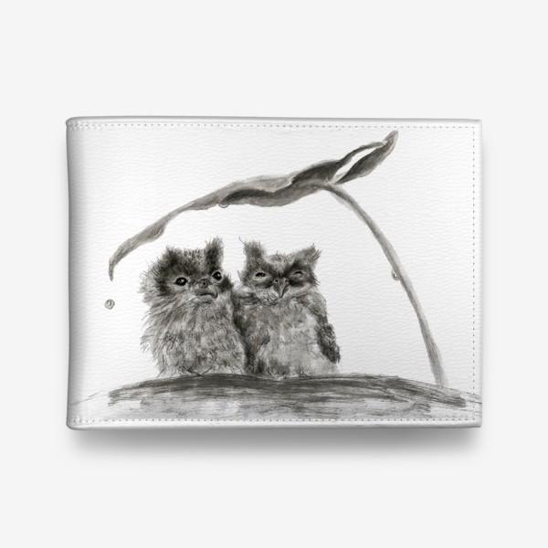 Кошелек «пара сов прячется от дождя»