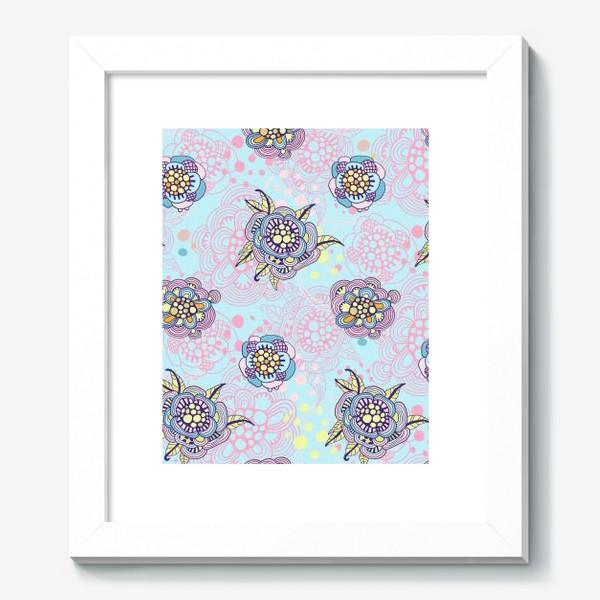 Картина «Декоративные цветы на голубом фоне»