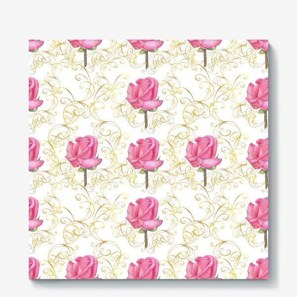 Холст «Pink rose seamless pattern.»